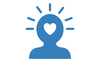 Graphic silhouette of person with a heart on the head