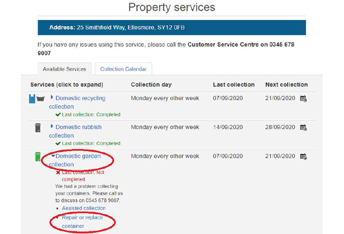 Property services screen grab