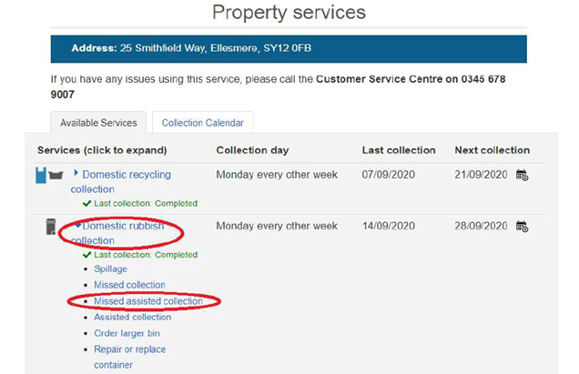 Property services screen dump